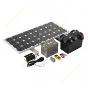 پکیج شماره یک برق خورشیدی – روشنایی (12 ولت DC برای 5 لامپ 10 وات به مدت 5 ساعت)