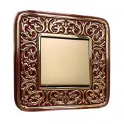 کلید و پریز آنتیکو سری FIORE طلایی با کادر پتینه شرابی