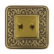 کلید دو پل اهرمی آنتیکو طلایی با قاب سری FIORE