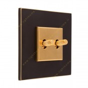کلید دو پل اهرمی آجدار آنتیکو مدل اسکور مشکی با رویه طلایی