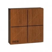 کلید چهار پل لمسی تیک با قاب چوبی گردویی