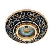 قاب هالوژن آنتیکو مدل فیوره طلایی با پتینه سرمه ای