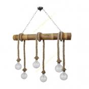 چراغ آویز آرتا مدل کنفی و چوبی کد 101/6