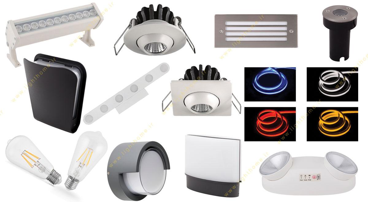 انواع محصولات روشنایی شعاع پارس
