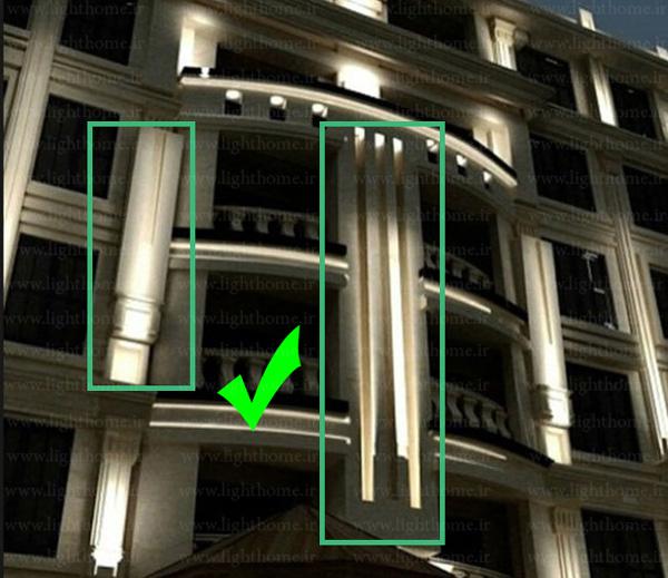 نورپردازی نمای بیرونی ساختمان - نورپردازی نما