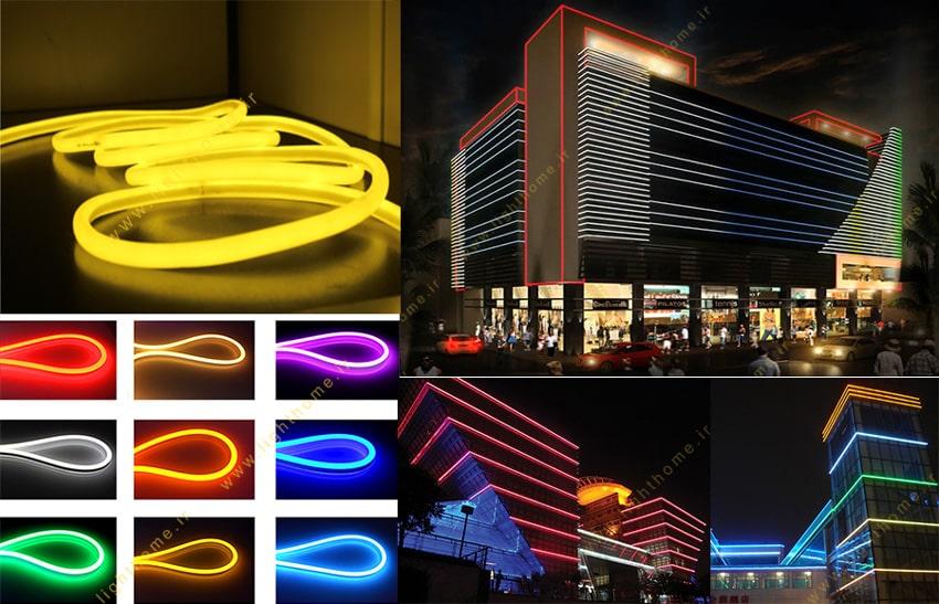 نورپردازی نمای ساختمان با ریسه نئون فلکسی