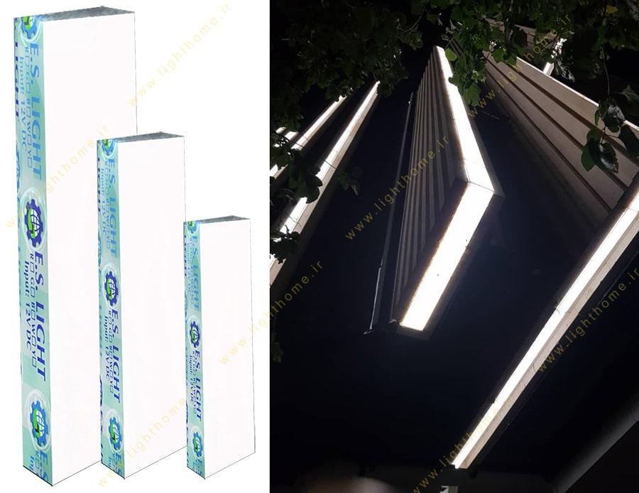 نورپردازی نمای ساختمان با سنگ نورانی خطی