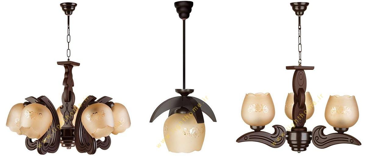 چراغ آویز و لوستر چوبی با کیفیت بالا