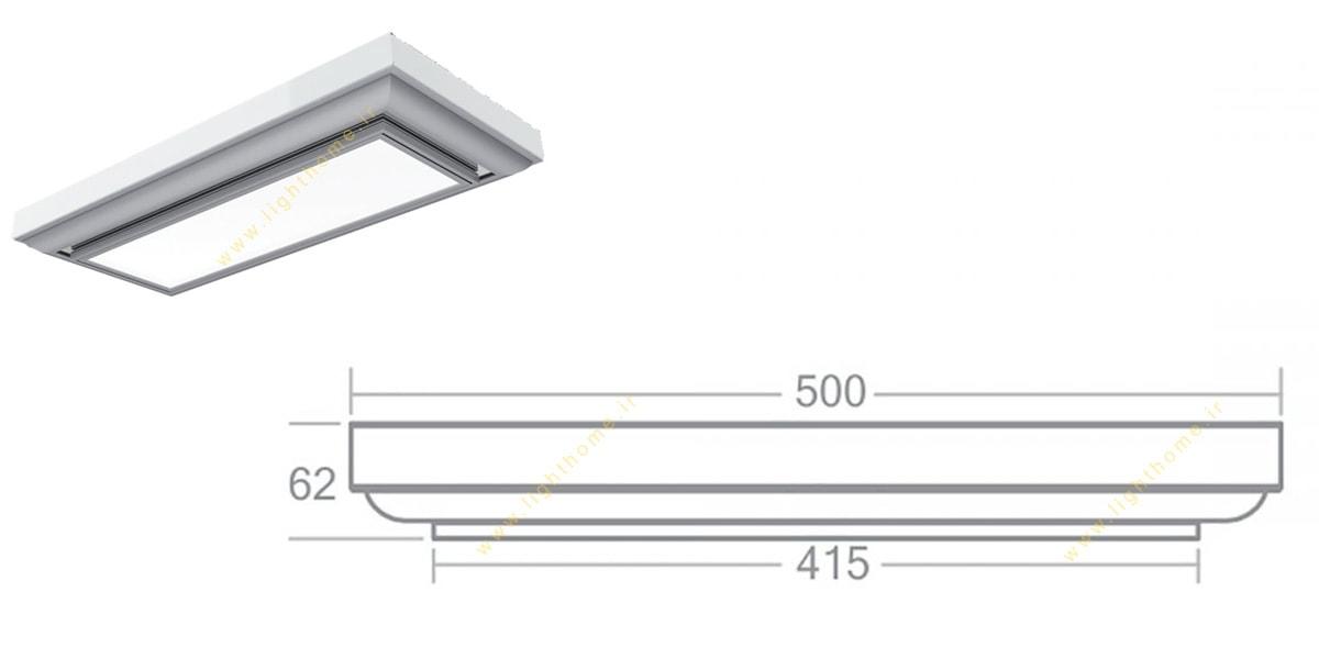 چراغ اداری آلفا 36 وات روکار مهنام مدل آلفا با صفحه اکرولیک شیری TCL