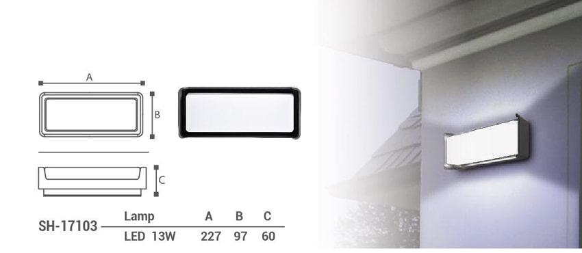 چراغ دیواری دکوراتیو ال ای دی 13 وات شعاع مدل sh-17103