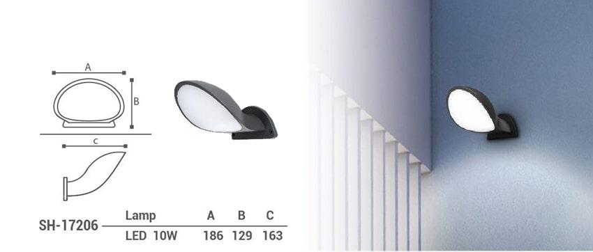 چراغ دیواری دکوراتیو ال ای دی 10 وات شعاع مدل sh-17206