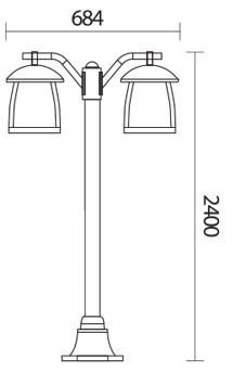 چراغ پارکی دوطرفه شعاع مدل sh-4522 - چراغ حیاطی شعاع مدل SH-4522