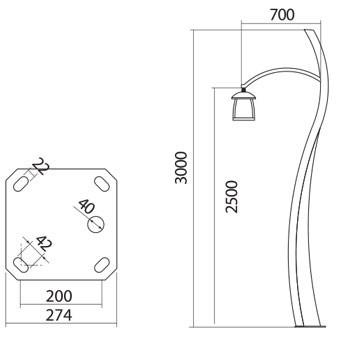 چراغ پارکی یک شاخه شعاع مدل SH-LX-4505