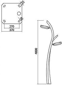 چراغ پارکی دو طرفه شعاع مدل lx-ufo-04