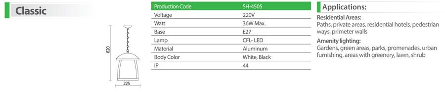 چراغ آویز شعاع مدل sh-4505 - چراغ آویز پارکی 4505 شعاع