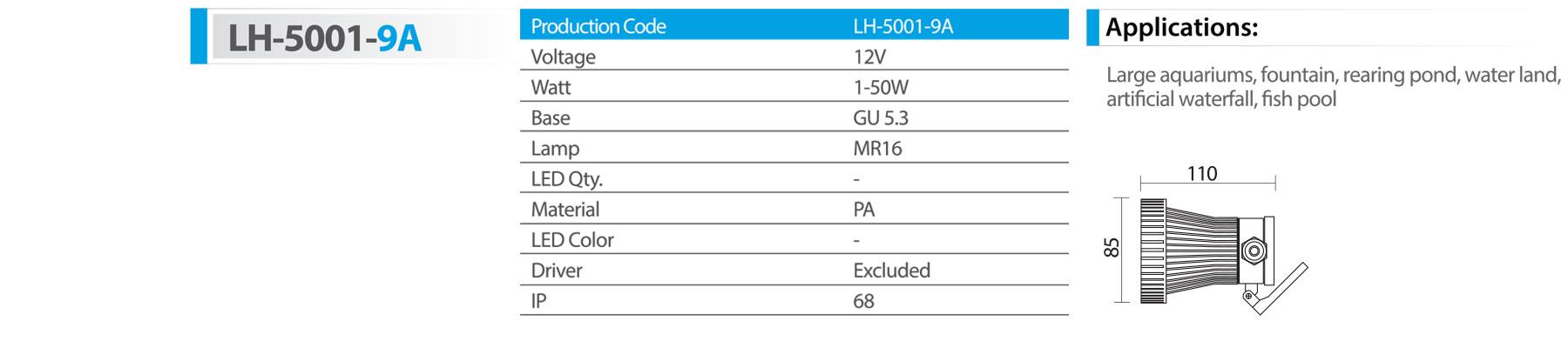 چراغ استخری روکار پلاستیکی مدل lh-5001-9a