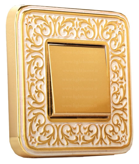 کلید و پریز طلایی آنتیکو - کلید و پریز آنتیکو با کادر طلایی
