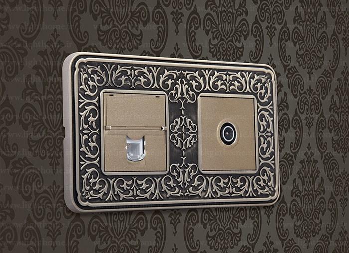 کادر دوخانه کلید و پریز آنتیکو - کادر دوخانه آنتیکو با فریم زیتونی مات