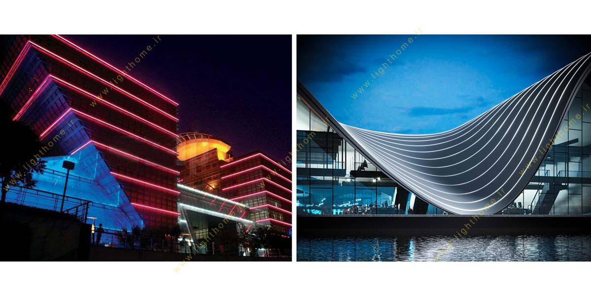 نورپردازی نمای ساختمان با ریسه